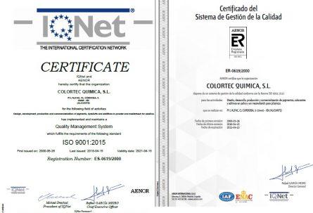 COLORTEC QUIMICA SL se adapta a la norma ISO 9001:2015