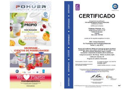 POHUER renueva su certificado BRC para plásticos en contacto directo con alimentos y productos higiénicamente sensibles
