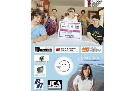 Empresas de IBIAE donan más de 9000 euros a Acodip y a Somriu